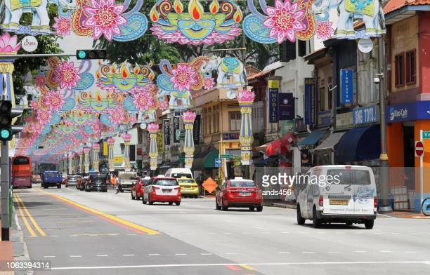 diwali decorations on serangoon road in little india, singapore - diwali decoration stock pictures, royalty-free photos & images
