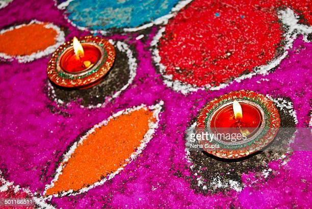 Diwali Diyas and Rangoli