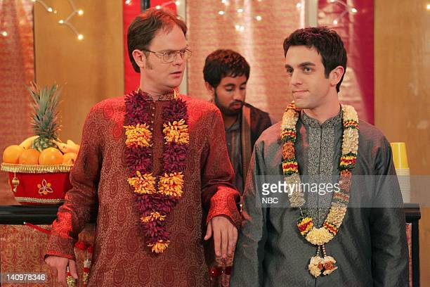 THE OFFICE Diwali Episode 6 Aired Pictured Rainn Wilson as Dwight Schrute and BJ Novak as Ryan Howard Photo by Justin Lubin/NBCU Photo Bank