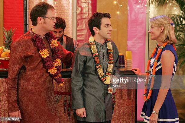 THE OFFICE Diwali Episode 6 Aired Pictured Rainn Wilson as Dwight Schrute BJ Novak as Ryan Howard and Nancy Carell as Carol Stills Photo by Justin...