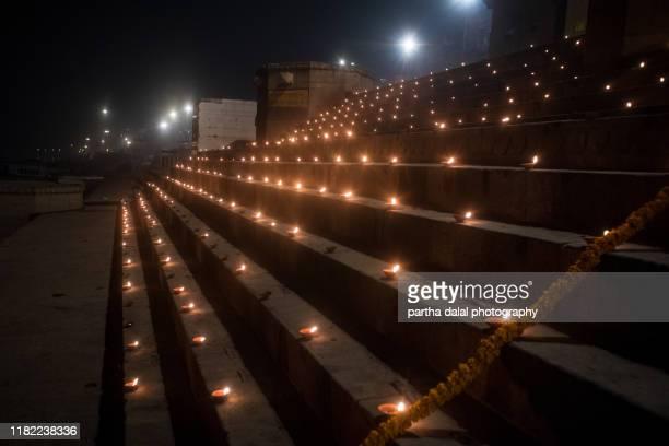 diwali in varanasi raja ghat uttar pradesh india - diwali decoration stock pictures, royalty-free photos & images