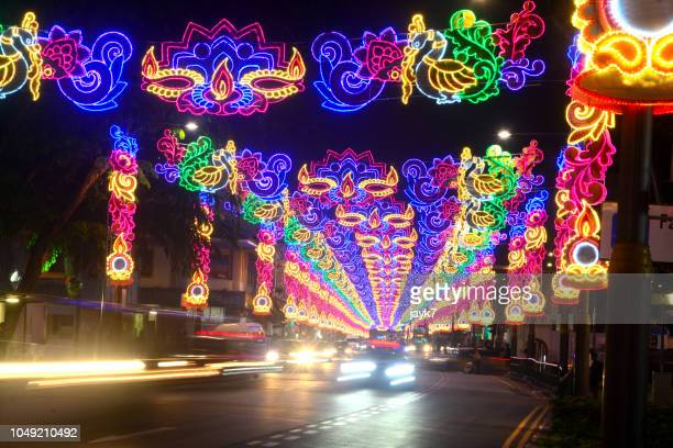 diwali lights in singapore - decoration stock pictures, royalty-free photos & images