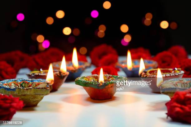 diwali lights - diwali celebration stock photos and pictures