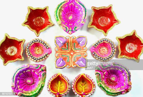 diwali lights - diya oil lamp stock pictures, royalty-free photos & images