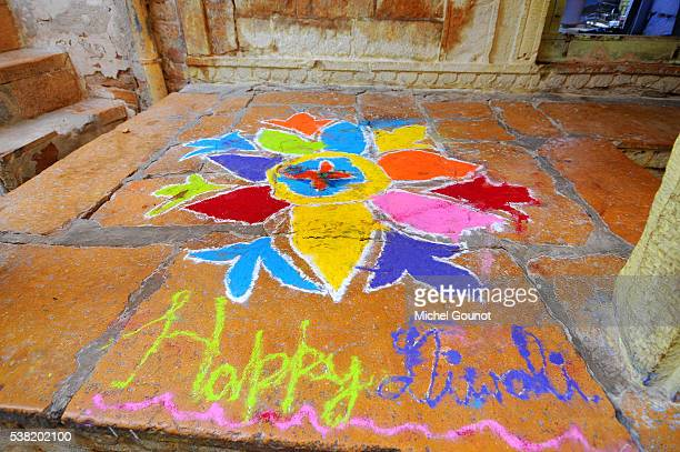 diwali mandala on a threshold - mandalas india ストックフォトと画像