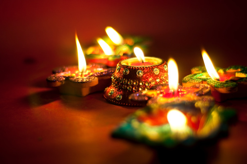 Diwali oil lamps lit up at night 450263719