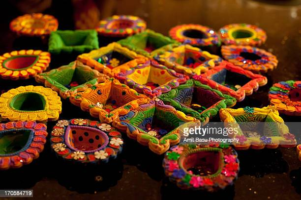diwali oil lamps - amit basu stock pictures, royalty-free photos & images