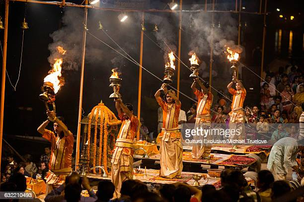 Diwali on Varanasi Ghats. The Maha Ganga Aarti. Varanasi, the holiest city in India, Varanasi, Uttar Pradesh, India