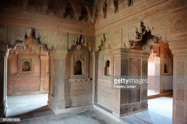 DiwaniKhas Private Audience Hall or Jewel House in Fatehpur Sikri founded in 1569 by the Mughal Emperor Akbar served as the capital of the Mughal...
