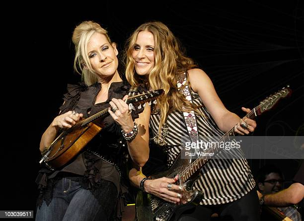 Dixie Chicks Martie Maguire and Emily Robison perform as the Court Yard Hounds at the 2010 Lilith Fair at DTE Energy Center on July 21 2010 in...