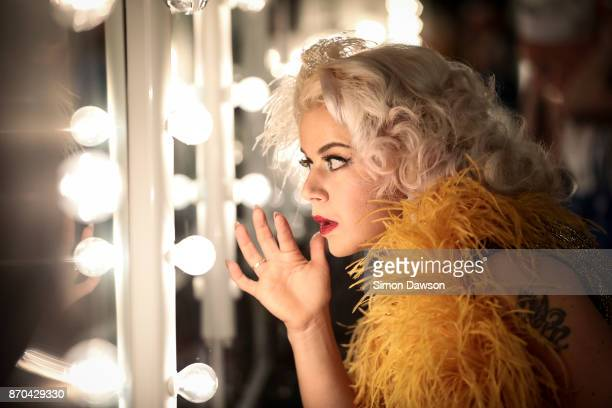 Dixie Feathers of Finland checks her make up before performing at the World Burlesque Games 2017 on November 4 2017 in London England The World...