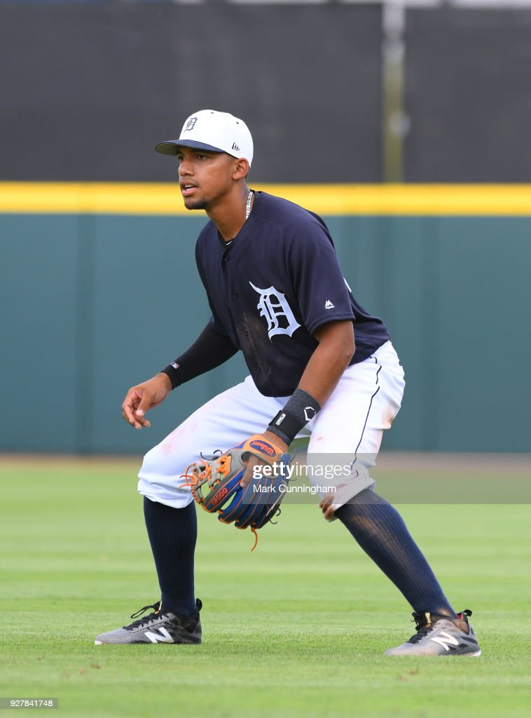 Dixon Machado #49 of the Detroit Tigers fields during the Spring Training game against the Toronto Blue Jays at Publix Field at Joker Marchant Stadium on February 24, 2018 in Lakeland, Florida. The Tigers defeated the Blue Jays 5-4.