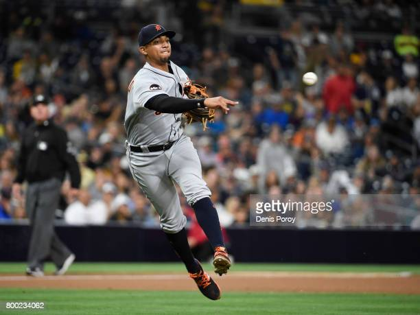 Dixon Machado of the Detroit Tigers throws out Franchy Cordero of the San Diego Padres during the seventh inning of a baseball game at PETCO Park on...