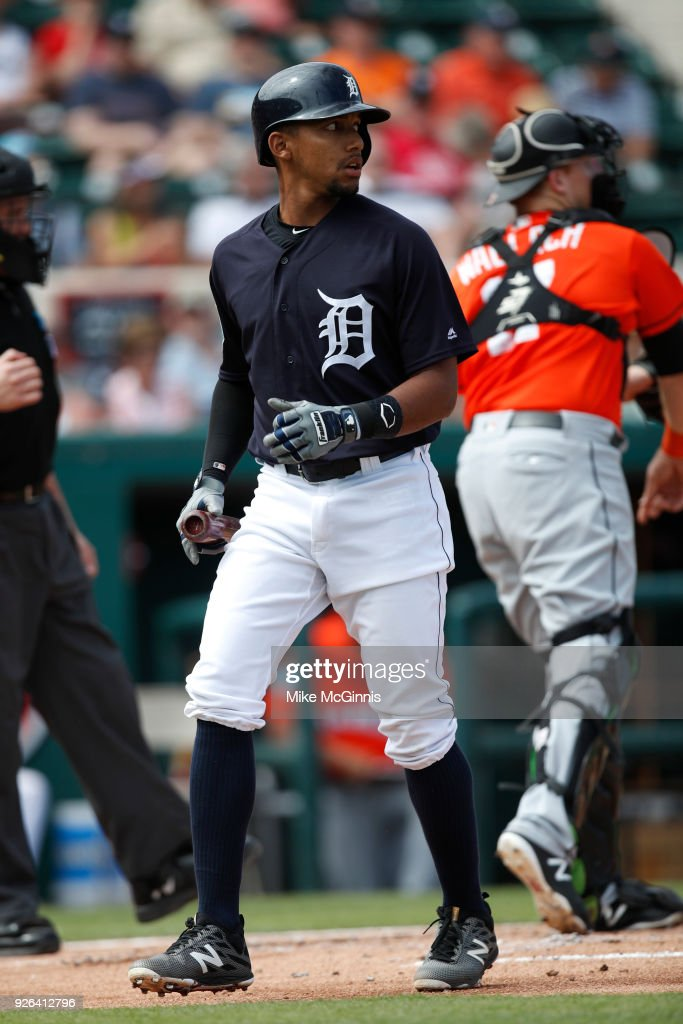 Dixon Machado #49 of the Detroit Tigers walks to the dugout after striking out during the first inning of the Spring Training game against the Miami Marlins at Joker Marchant Stadium on March 02, 2018 in Lakeland, Florida.