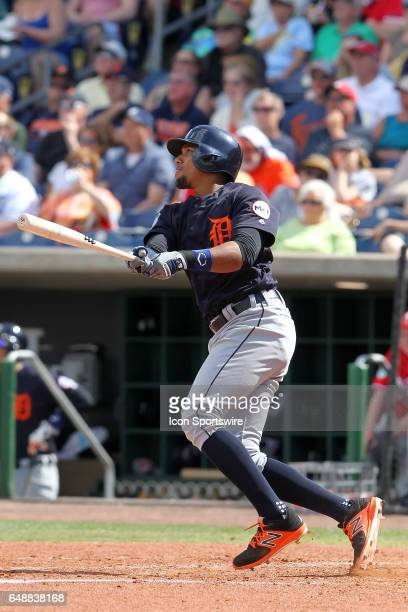 Dixon Machado of the Tigers at bat during the spring training game between the Detroit Tigers and the Philadelphia Phillies on March 05 2017 at...