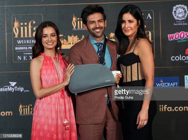 Diya Mirza, Katrina Kaif and Kartik Aaryan attend the IIFA press confarence for 21st IIFA awards 2020 on March 04,2020 in Mumbai, India