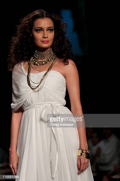 Diya Mirza walks the runway at the Rocky S show at Lakme Fashion Week Summer/ Resort 2011 day 4 at the Grand Hyatt on March 14 2011 in Mumbai India