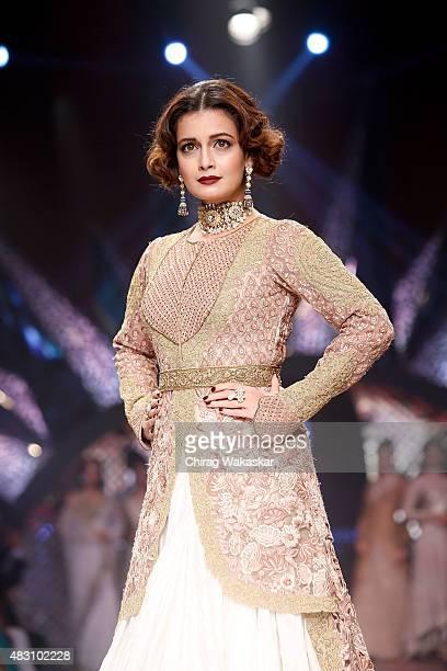 Diya Mirzal walks the runway at the Birdhichand Ghanshyamdas Jewellers show during Day 4 of the India International Jewellery Week at the Grand Hyatt...