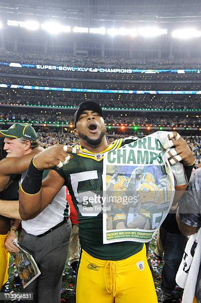 Diyral Briggs of the Green Bay Packers celebrates after defeating the against the Pittsburgh Steelers in Super Bowl XLV on February 6 2011 at Cowboys...