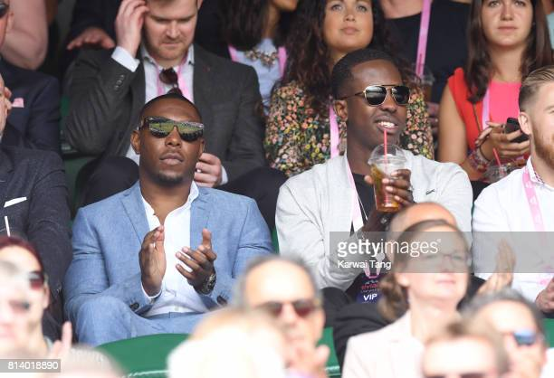 Dizzee Rascal and Jamal Edwards attend day ten of the Wimbledon Tennis Championships at the All England Lawn Tennis and Croquet Club on July 13 2017...