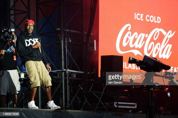 Dizzee Rascal performs at the London 2012 Olympic Torch Relay Finale Concert in London's Hyde Park presented by CocaCola on July 26 2012 in London...