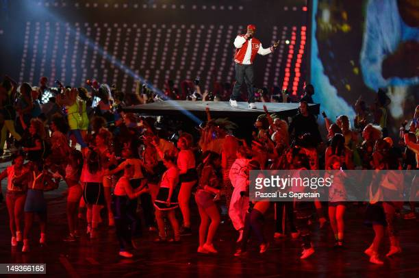 Dizzee Rascal performs during the Opening Ceremony of the London 2012 Olympic Games at the Olympic Stadium on July 27 2012 in London England