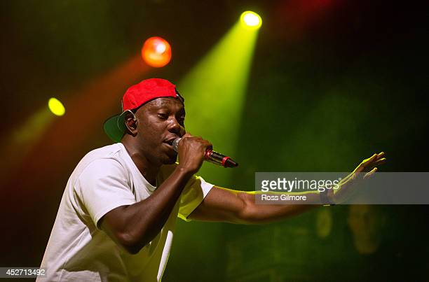 Dizzee Rascal performs on stage at Wickerman Festival at Dundrennan on July 25 2014 in Dumfries United Kingdom