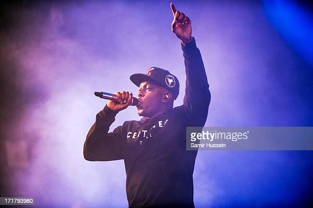 Dizzee Rascal performs on the Pyramid Stage at the Glastonbury Festival of Contemporary Performing Arts at Worthy Farm Pilton on June 28 2013 in...