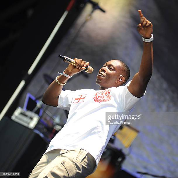 Dizzee Rascal performs on the Pyramid stage during the second day of Glastonbury Festival at Worthy Farm on June 25 2010 in Glastonbury England
