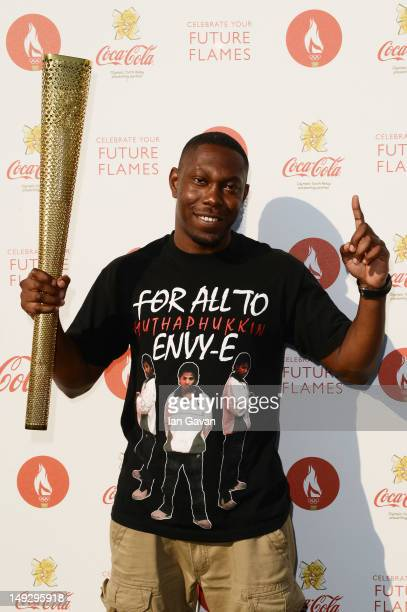 Dizzee Rascal poses backstage at the London 2012 Olympic Torch Relay Finale Concert in London's Hyde Park presented by CocaCola on July 26 2012 in...