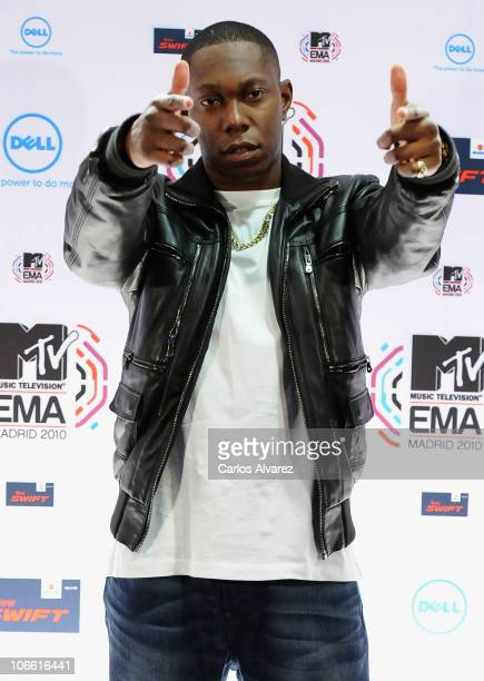 Dizzee Rascal poses in front of the media boards at the MTV Europe Music Awards 2010 at La Caja Magica on November 7 2010 in Madrid Spain