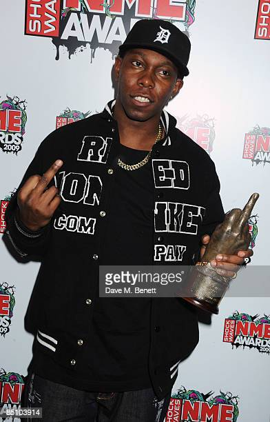 Dizzee Rascal Poses With The Best Dancefloor Filler Award For Dance Wiv Me During