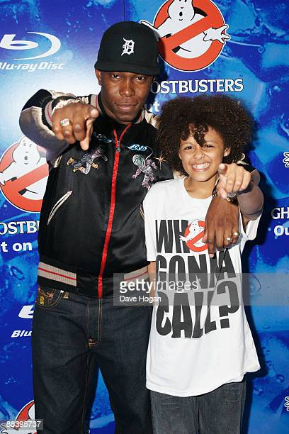 Dizzee Rascal with Callum Francis from Britains got talent attend a VIP screening of Ghostbusters held at the Soho Hotel on June 10 2009 in London...