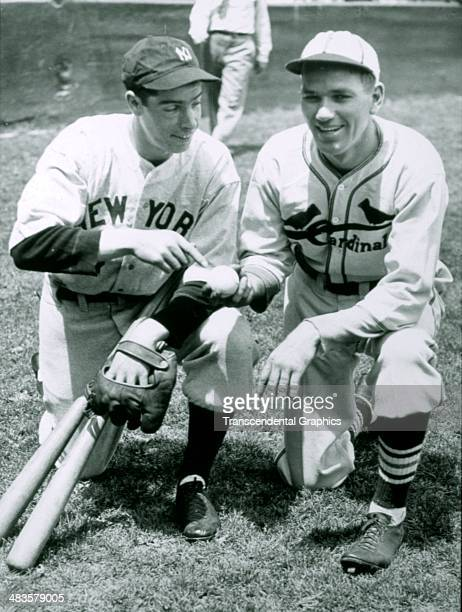 Dizzy Dean poses with the Yankees' Joe DiMaggio in the spring of 1934 at the Yankees' spring training site in St Petersburg Florida