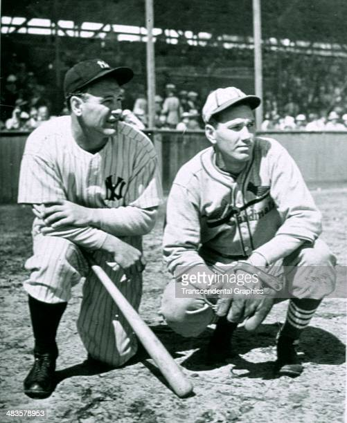 Dizzy Dean poses with the Yankees' Lou Gehrig in the spring of 1934 at the Yankees' spring training site in St Petersburg Florida