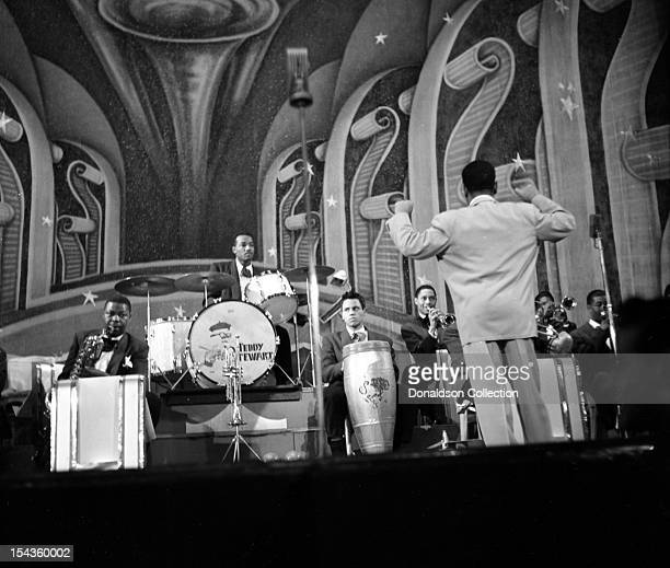 Dizzy Gillespie conducts his BeBop Orchestra including Teddy Stewart on drums at the Strand Theater on Broadway on December 10 1948 in New York New...