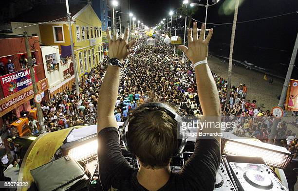 Dj Armin van Buuren commands the Skol sound truck of eletronic music in the BarraOndina street carnival track on February 24 2009 in Salvador Brazil
