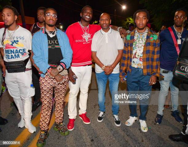 Dj Durel Quavo Gucci Mane Alex Gidewon and Takeoff attend Birthday Bash Celebration Hosted by Lil Baby Trey Songz and YFN Lucci at Compound on June...
