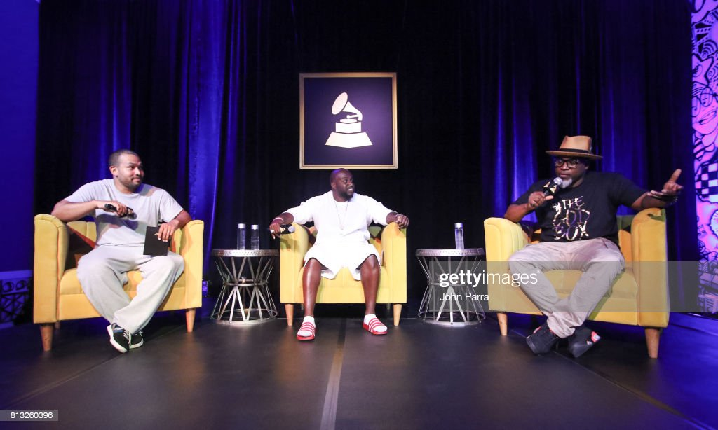 Dj Gq, Rico Love and David Banner speak during the Up Close & Personal with Rico Love and David Banner for The Recording Academy at Studio 26 on July 11, 2017 in Miami, Florida.