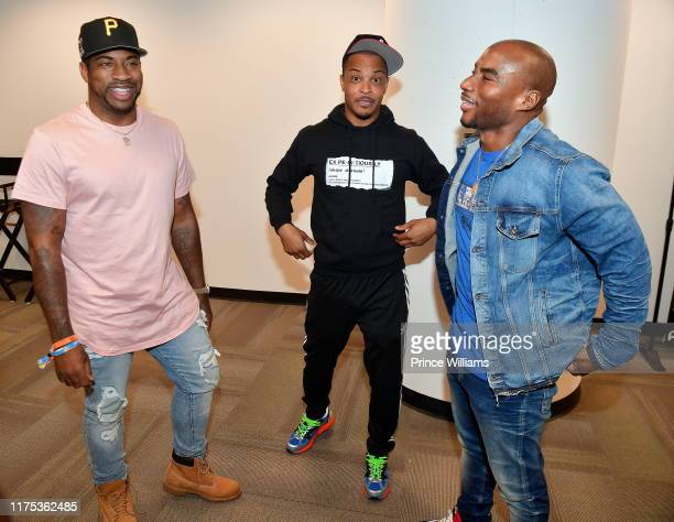 Dj Holiday TI and Charlamagne Tha god attend 2019 A3C Festival Conference at Atlanta convention Center at AmericasMart on October 11 2019 in Atlanta...