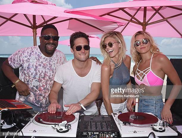 Dj Irie Diego Boneta Devon Windsor and Rachel Hilbert attend Victoria's Secret PINK Nation Spring Break Beach Party in Cancun Mexico on March 15 2016...