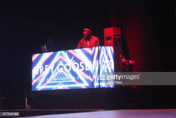 Dj Irie spins during the Carolina Herrera Fashion Show with GREY GOOSE Vodka at the Cadillac Championship at Trump National Doral on March 7 2014 in...