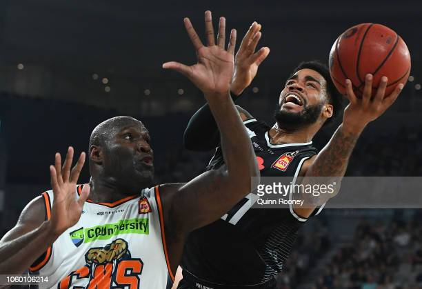 Dj Kennedy of United shoots during the round five NBL match between Melbourne United and the Cairns Taipans at Hisense Arena on November 11 2018 in...