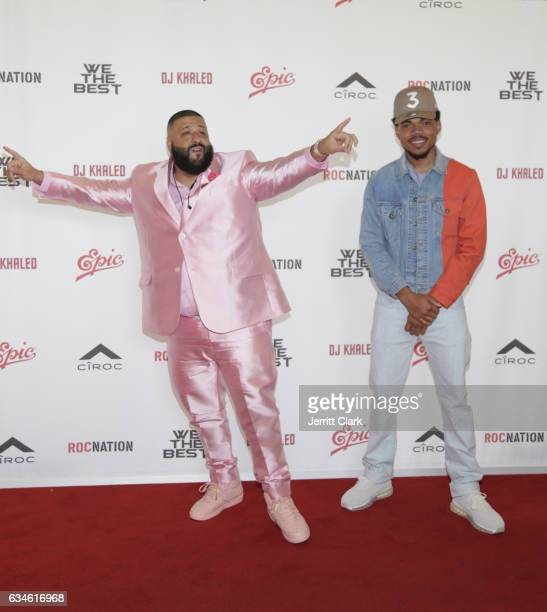 Dj Khaled and Chance the Rapper attend DJ Khaled's Special Announcement Press Conference at Beverly Hills Hotel on February 9 2017 in Beverly Hills...