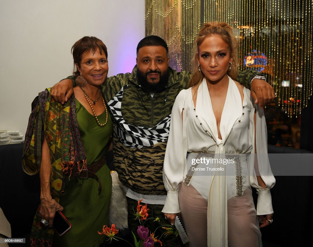 Dj Khaled (C) and Jennifer Lopez (R) celebrate release of new single 'Dinero' during sneak peek of new Spago at Bellagio on May 20, 2018 in Las Vegas, Nevada.