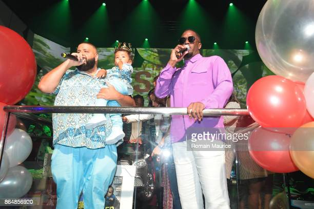 Dj Khaled and Puff Daddy attend Tot Living By Haute Living Celebrates Asahd's First Birthday With Cybex on October 21 2017 in Miami Florida