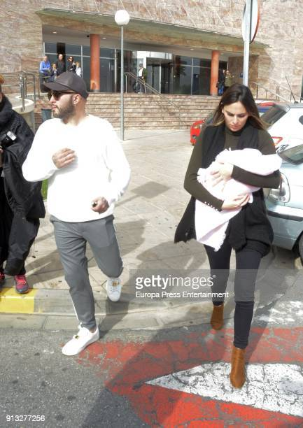 Dj Kiko Rivera and Irene Rosales present their newborn Carlota Rivera on February 1 2018 in Seville Spain