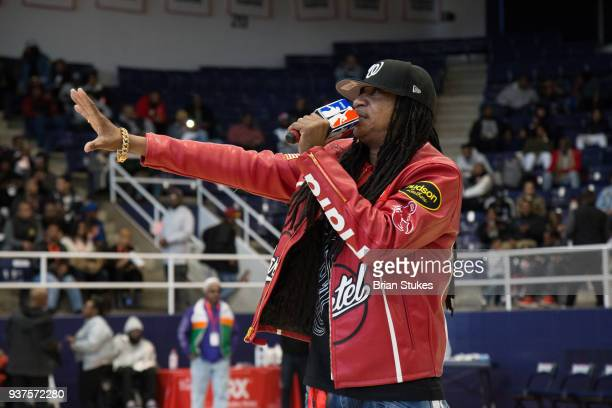 Dj Kool performs for halftime during Master P's Global Mixed Gender Basketball League Diabetes Health Initiative at Howard University Burr Gymnasium...