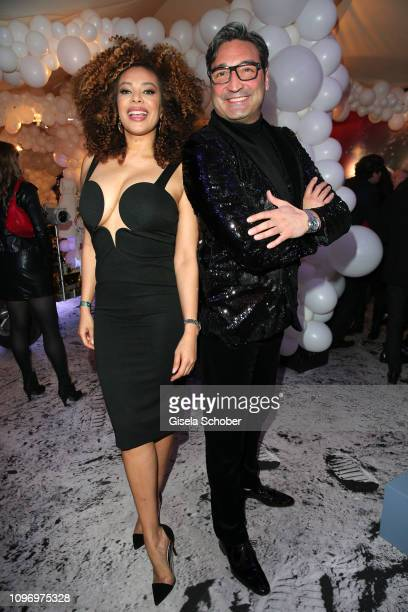 Dj Mousse T and his girlfriend Khadra Suf during the PLACE TO B Berlinale party of BILD at Borchardt Restaurant on February 9 2019 in Berlin Germany