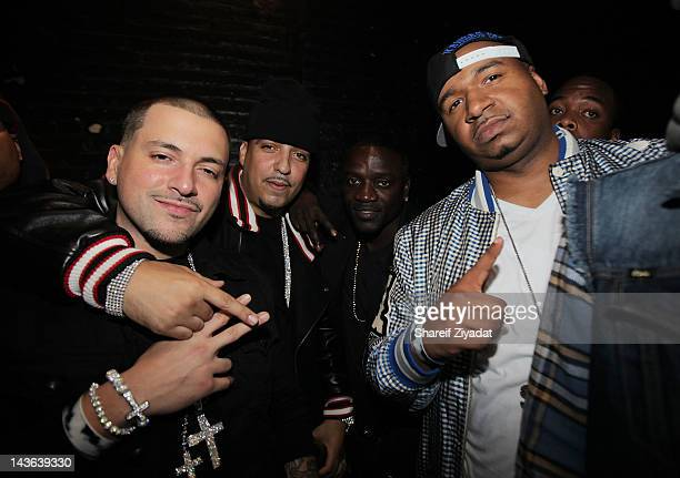 Dj Pro Styles French Montana Akon and Dj Suss One attend the DJ ProStyle Birthday Concert at Hammerstein Ballroom on April 30 2012 in New York City